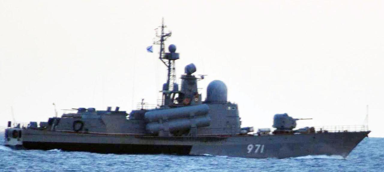 画像: タランタルⅢ級ミサイル護衛哨戒艇(971) 統合幕僚監部 報道発表資料より