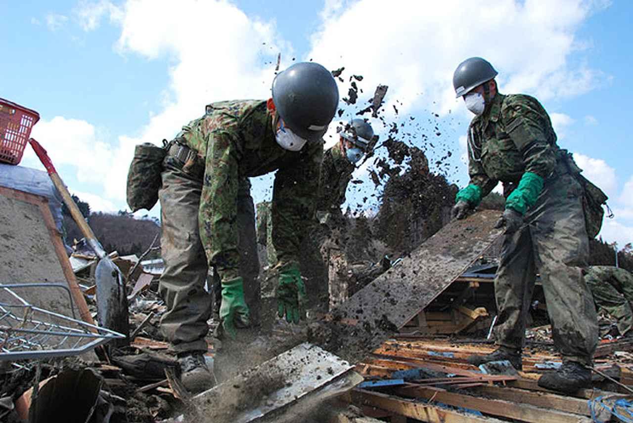 画像: 東日本大震災の被災地での活動の様子 防衛省・自衛隊ホームページより