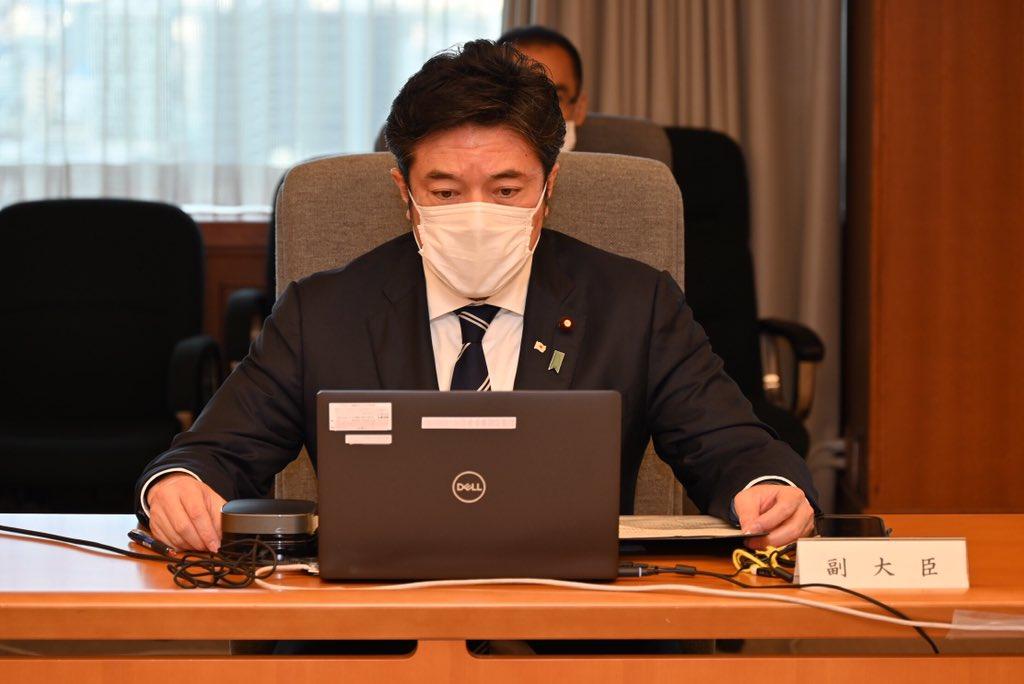 画像: 大規模接種対策本部会議に臨む中山防衛副大臣 防衛省・自衛隊ホームページより