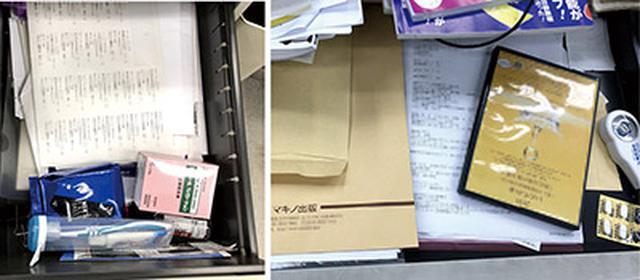 画像: 引き出し内は文具、日用品、書類が乱雑に押し込められている