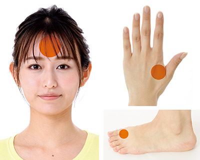 画像: 赤外線体温計を使い、おでこと手足の先の温度差を測る
