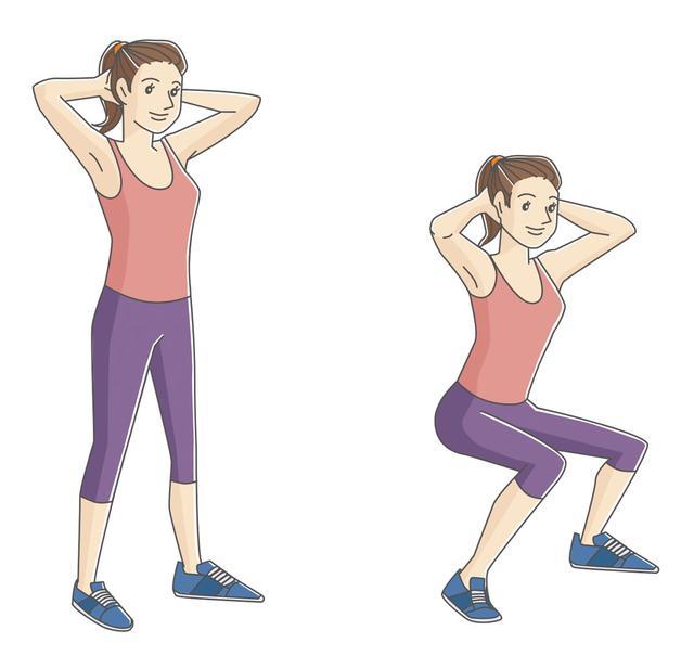画像: 足を肩幅に広げ、ひざがつま先より前に出ないように、腰を下ろす。10回前後行う。