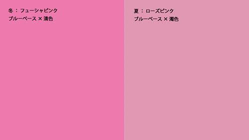 画像: ブルーベースに似合うピンク。左が冬タイプ、右が夏タイプ。