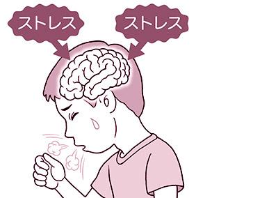画像: ストレスにより、咳中枢に影響が及んでセキが出る