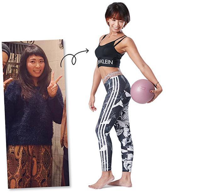 画像: 左:現在より20kg以上太っていた頃の篠崎さん 右:メリハリのある「自分史上最高」の体形に
