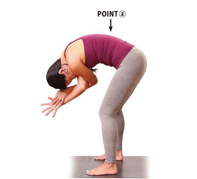 画像2: Step① 足幅を開いた立位前屈