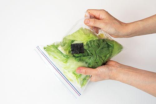 画像: 袋の上からもみ、調味料をなじませる。強くもむというより、袋をふって調味料を全体に行き渡らせて空気を抜く。