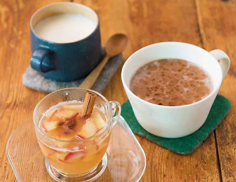 画像: 甘酒ミルク(上)、豆乳バナナココア(中)、ホットアップルシナモン(下)