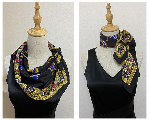 画像: 同じワンピースに同じスカーフでも、アレンジしだいで全く違う装いに。