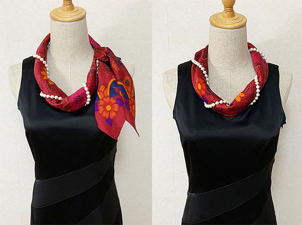 画像: 結び目を後ろにする(写真右)と背中にスカーフの花柄が来て、それも素敵です。