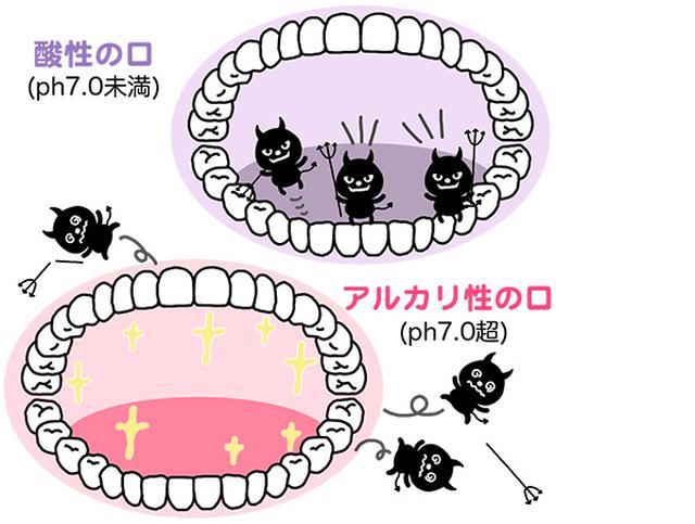 画像: 口内をアルカリ性にすると、悪玉菌がすみ着きにくくなる。