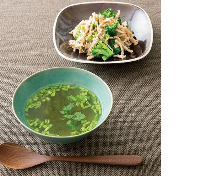 画像: セリのスープ&ゆでた鶏肉の活用サラダ