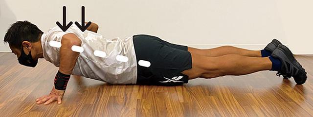 画像2: 吉原先生の体幹筋トレ 1. プッシュアップ(腕立て伏せ)