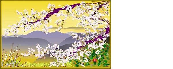 画像: 堀内さんがエクセルで描いた『桜と富士』
