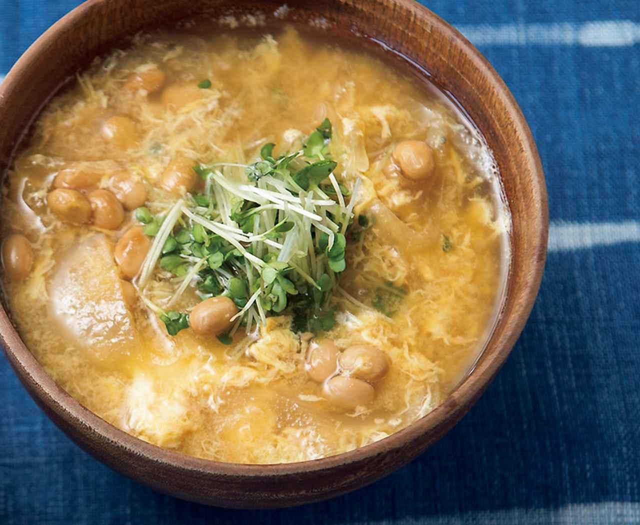 画像: サバ缶納豆かき玉汁