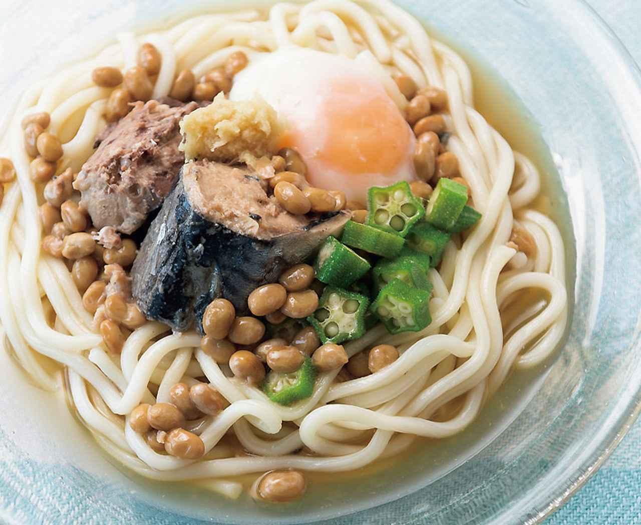 画像: サバ缶納豆ぶっかけうどん