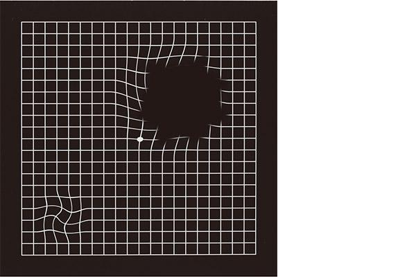 画像: アムスラーチャート(格子状の表)によるチェック。黄斑変性の初期段階では、マス目の線がゆがんで見える。症状が進行すると、しだいにゆがみが大きくなり、欠けている部分や見えにくくなる部分が出てくる。