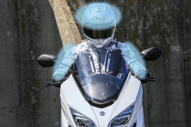 画像: ※写真はライダーに走行風があたる位置をブルーにイメージしたものです。