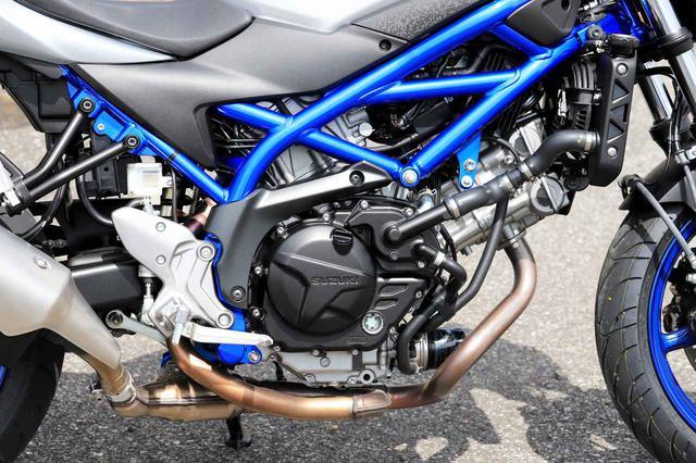 画像: SV650の水冷Vツインエンジンは、総排気量645cc。