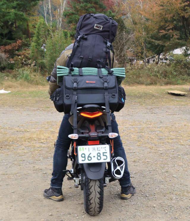 画像: ノーマル状態のスズキ『ジクサー150』でバイクキャンプの大荷物は積めるかな?【キャンプツーリングインプレ・積載編】