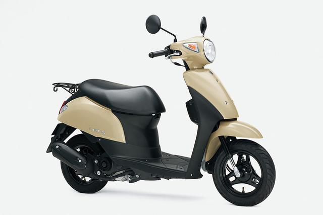 画像1: 新車が16万円台で買えて燃費も抜群のおすすめ50ccバイク! かわいい系原付スクーターで最高コスパのスズキ『レッツ』にお洒落ベージュが追加!