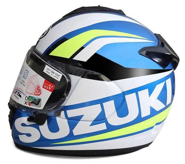 画像: 鮮やかなスズキのレーシングカラー! ヘルメットは目立ったもの勝ちです