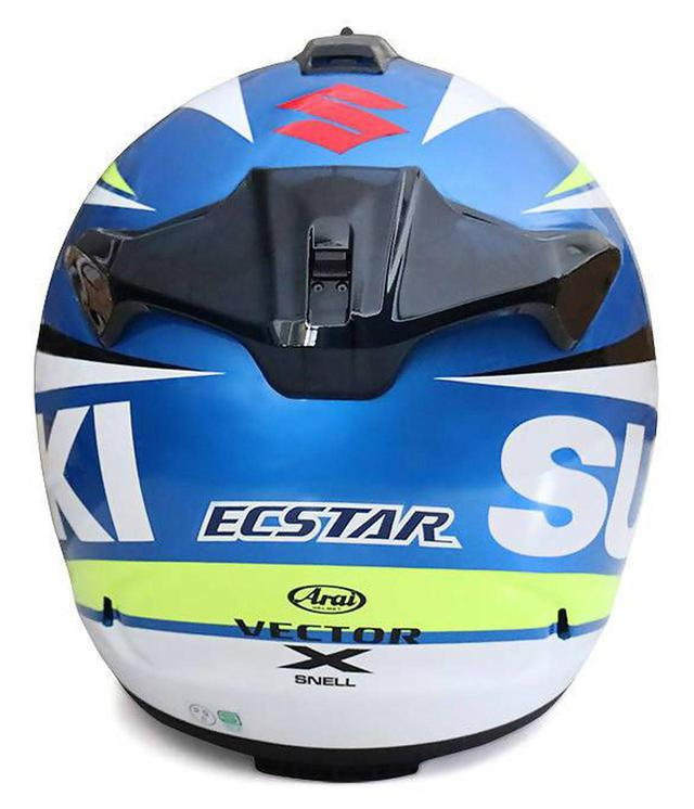 画像2: 【用品】100周年記念カラーの『GSX-R1000R/GSX-R125』に乗ってる人は特に注目! MotoGP『チーム・スズキ・エクスター』のライダーなりきりヘルメットです 【寝ても覚めてもスズキのバイク!/GPカラー ヘルメット 編】