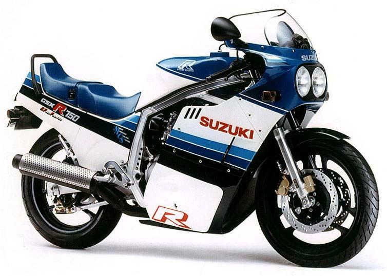 画像: スズキが市販車で世界で初めて油冷エンジンを搭載したモデル「GSX-R750」(1985年)