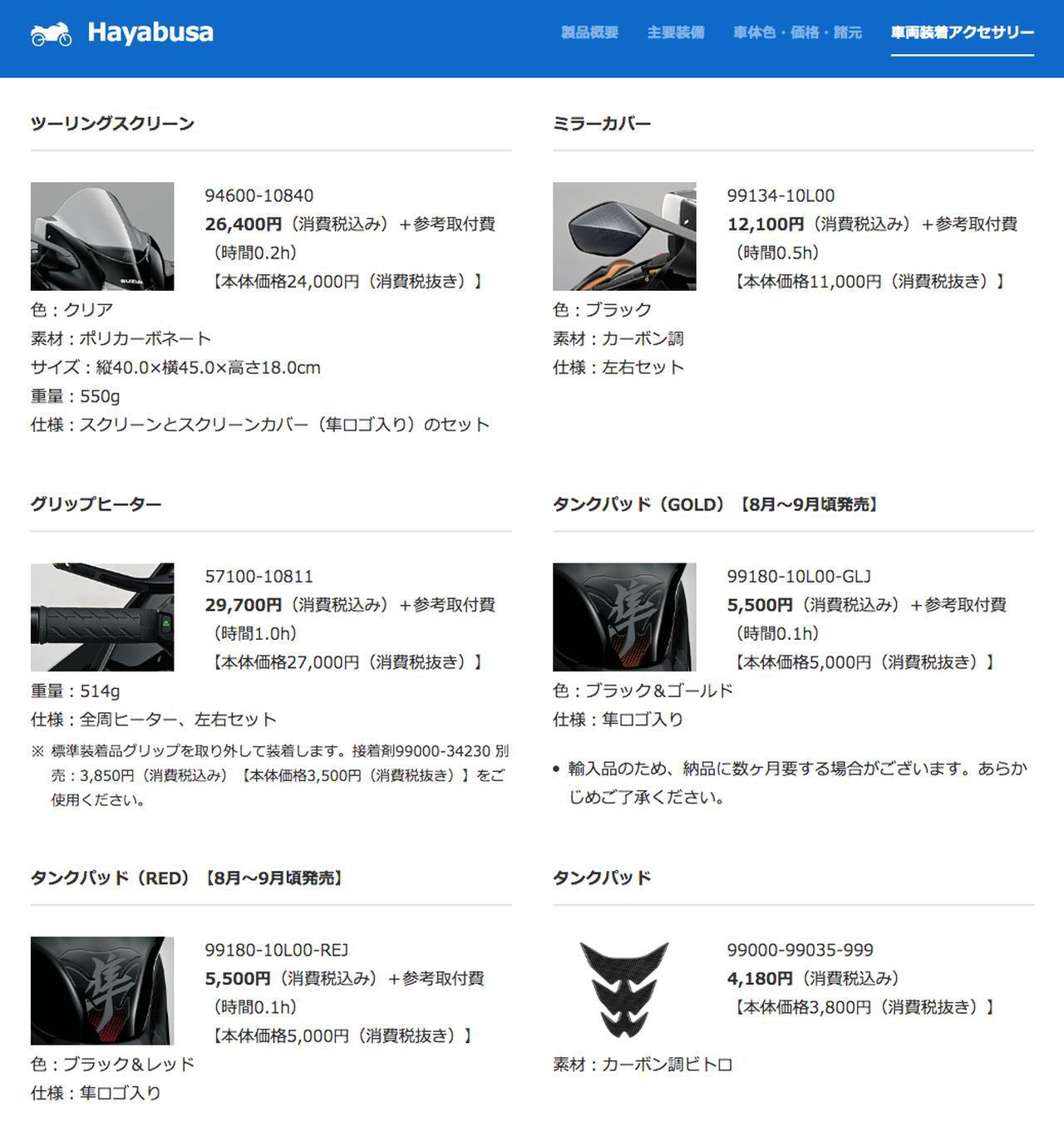 画像: Hayabusa 車両装着アクセサリー www1.suzuki.co.jp