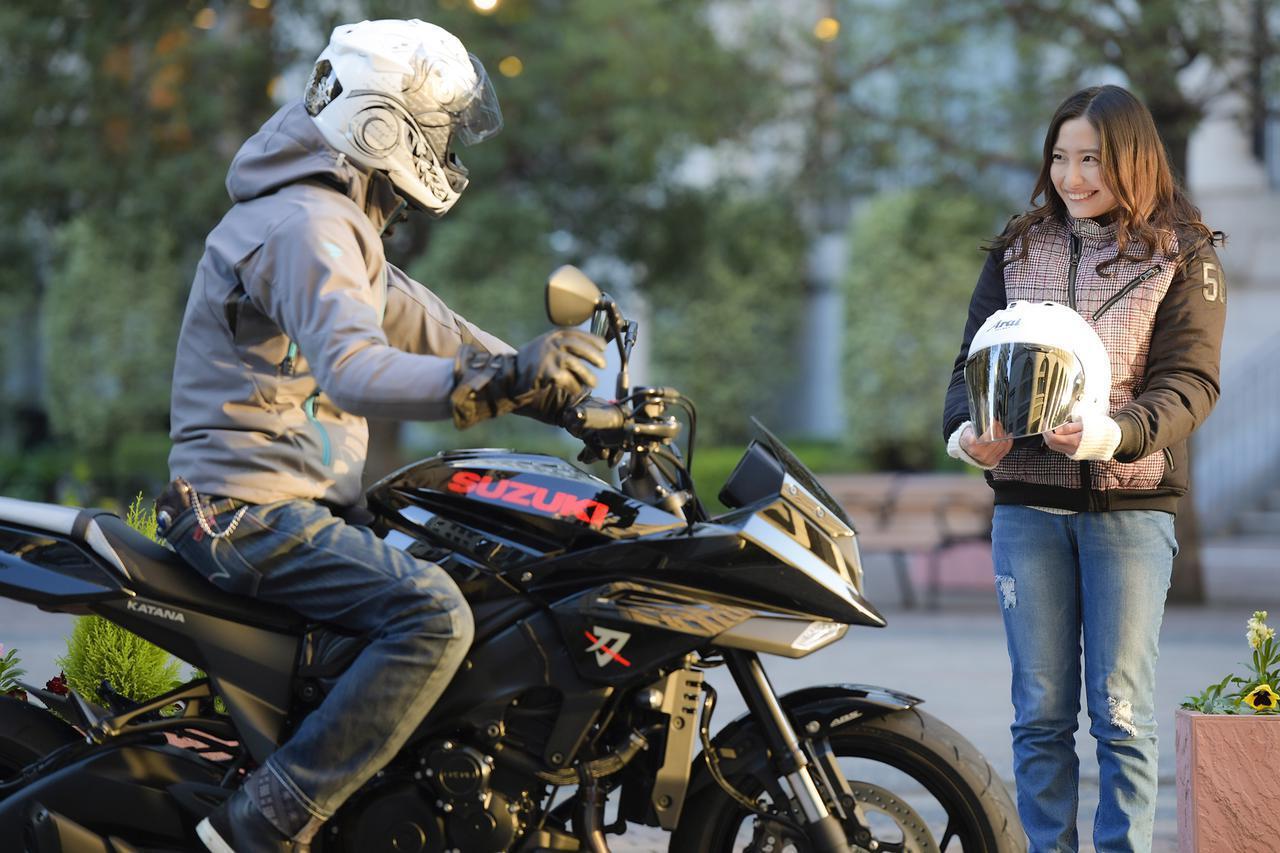 画像: カタナで女子と二人乗りしたら、もしや超〇〇な状態になるんじゃないか? - スズキのバイク!