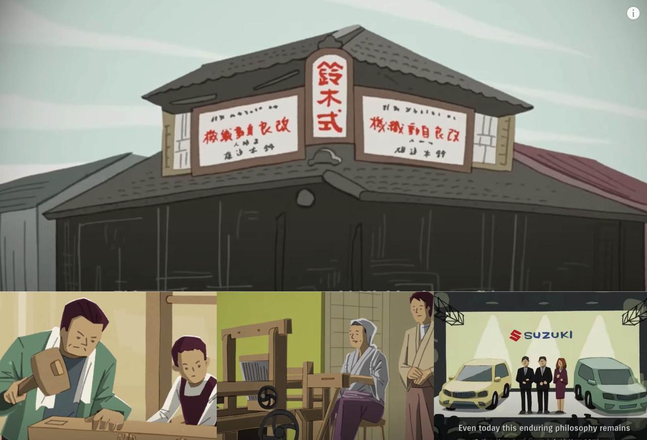 画像: 【前編】木製機織機(きしょっき)の製造から始まった『スズキの成り立ち』を学べる動画が紙芝居みたいだった! - スズキのバイク!