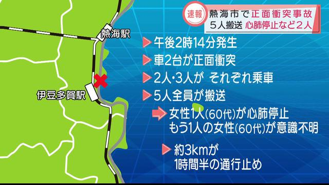 画像: 重体は女性2人…静岡・熱海市で乗用車同士が正面衝突 双方の5人全員を病院に搬送 youtu.be