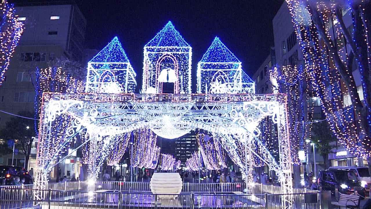 画像: 青葉シンボルロードのイルミネーション青い光で医療従事者にエール youtu.be