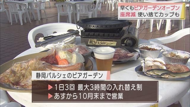 画像: ビアガーデンあす23日に営業開始 席数減らし、使い捨てのカップで感染対策 静岡市 youtu.be