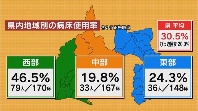 画像: 13日時点での静岡県内の病床使用率
