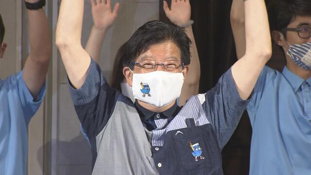 画像: 当選した川勝氏