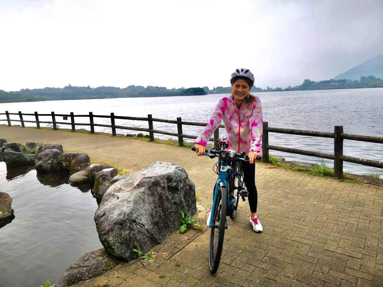 画像: 田貫湖ではEーBIKEにも挑戦! レンタルできますよ 少しペダルを漕いだら 時速30キロに! スイスイ快適でした☆