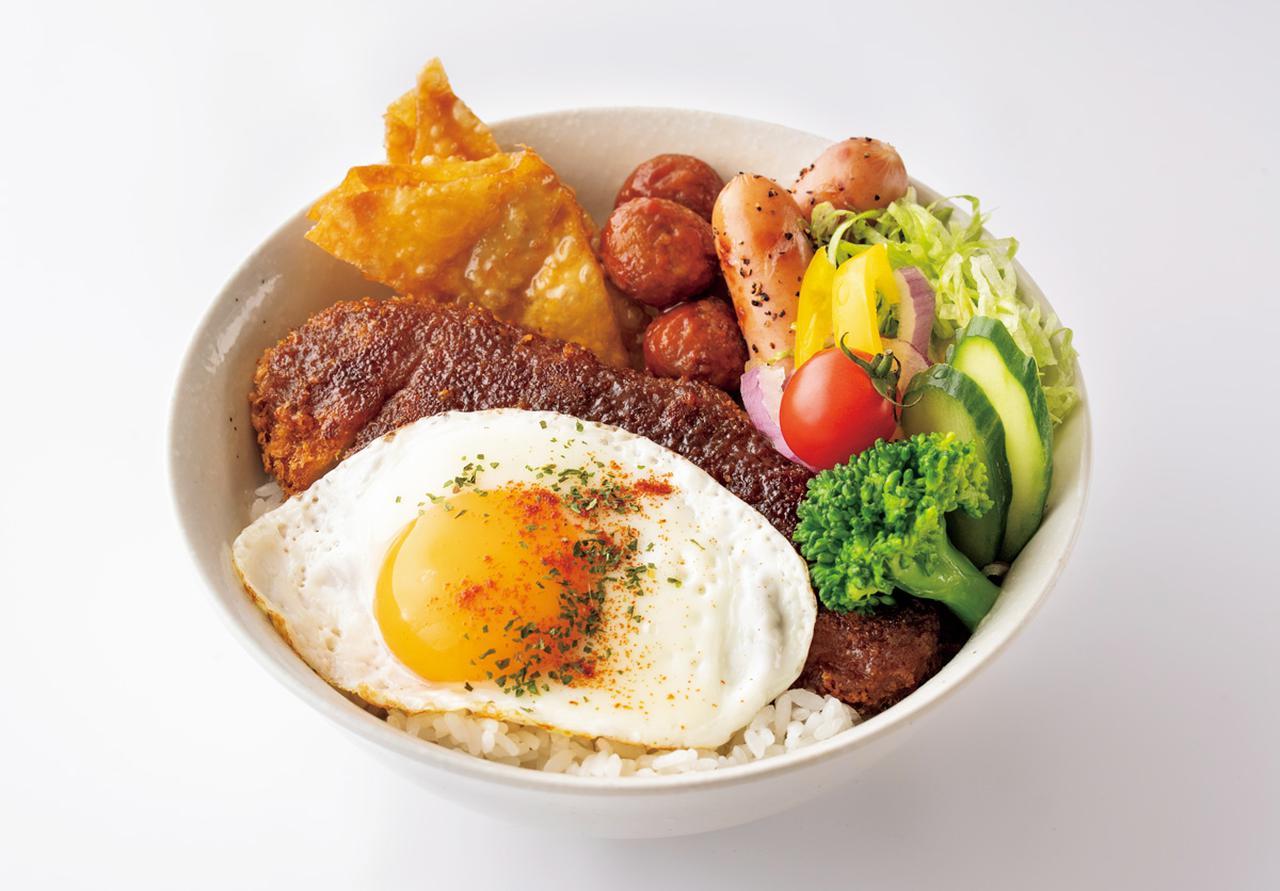 画像: 多彩な食材と味付け「彩りカツレツ丼」