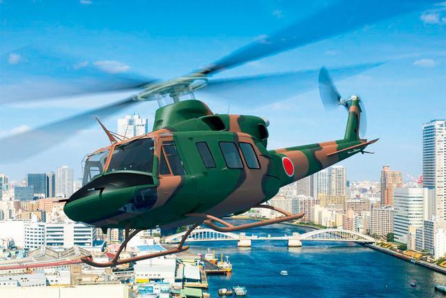 画像: 「UH-X」をイメージした開発段階のCG。UH-1Jをベースにしていること、ローターブレードが4枚になっていること、ボディ形状が改良されていることなどがうかがえる