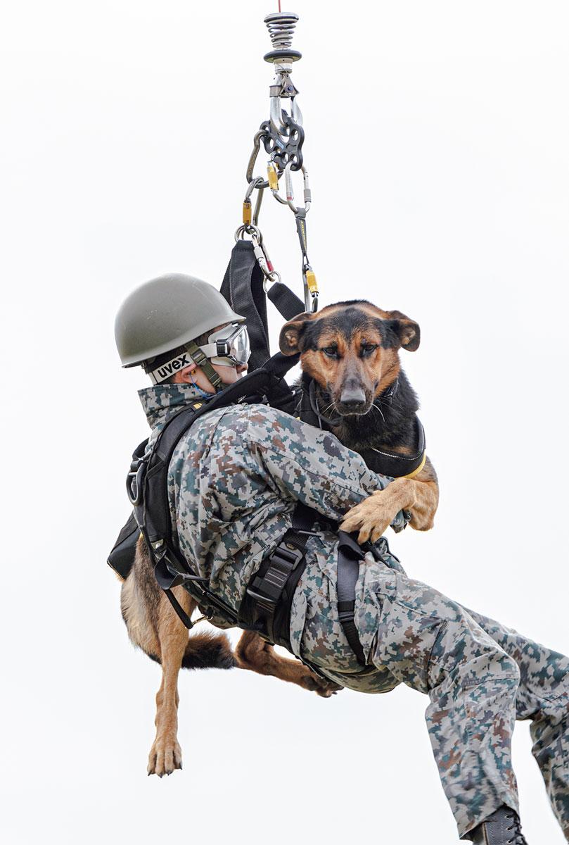 画像: 動作指示を出す隊員(ハンドラー)と警備犬はそれぞれハーネスを装着し、ハンドラーが警備犬を正面に抱きかかえる姿勢でゆっくりと地上に向かって降りてくる。
