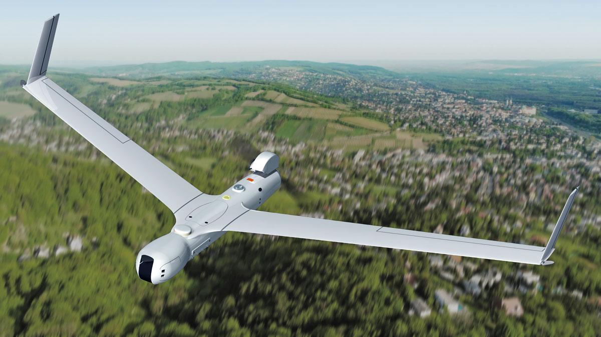 画像: 上空を静かに飛び情報を集めるスキャンイーグル2のイメージ。長時間、上空からの監視・偵察を行える
