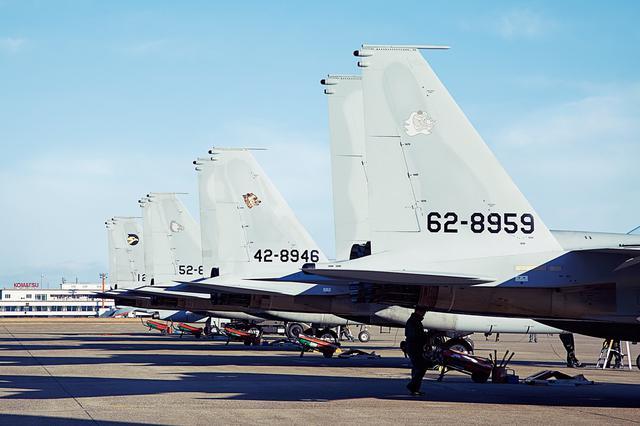 画像: 垂直尾翼に描かれた部隊マークがそれぞれ異なった機体が並んでいる。全国の部隊から選ばれし者が集う、ここならではの光景だ