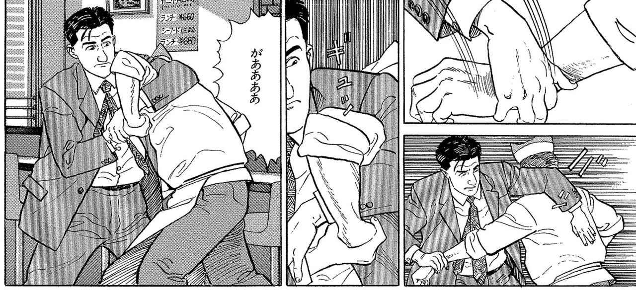 画像: ファンの間で語り草となっている五郎が横柄な店主にアームロックをかけるシーン。当時、谷口氏が手掛けていた格闘漫画『餓狼伝』の影響もあるという