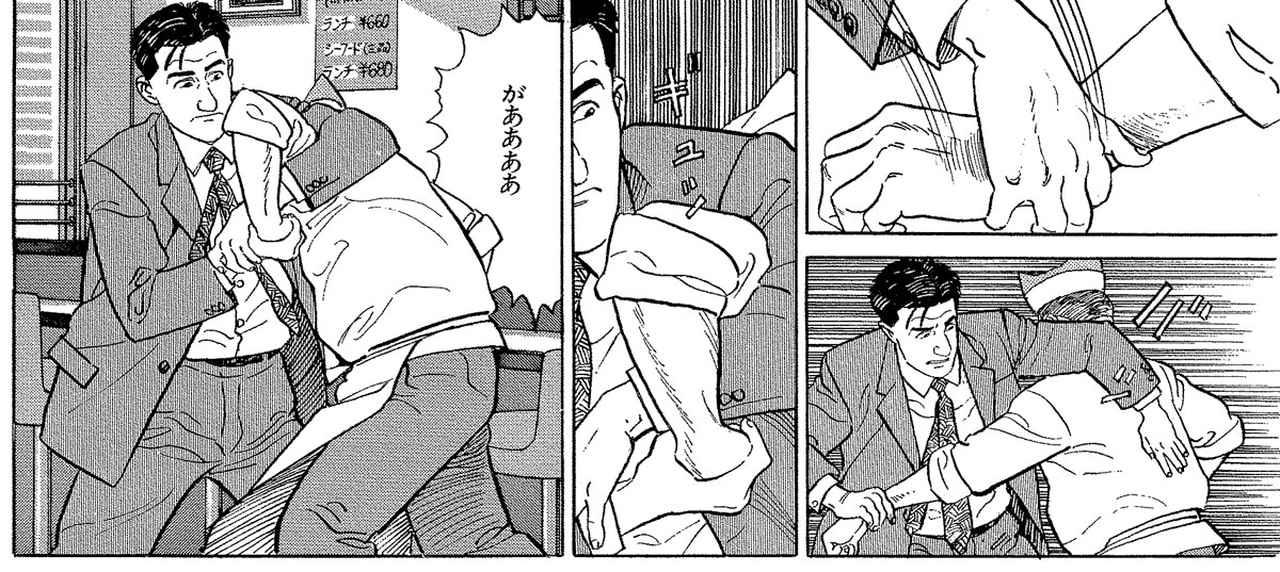 画像: 第12話『東京都板橋区大山町のハンバーグ・ランチ』。店主が外国人留学生らしき店員に罵声を浴びせる様子に気分を害し食欲が失せてしまった五郎。苦言を呈すも店主には通じす、アームロックをかけてしまう
