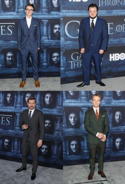 男性陣のスーツルック。左から時計回りに、ブラン役のアイザック・ヘンプステッド・ライト、サムウェル役のジョン・ブラッドリー、シオン役のアルフィー・アレン、ジェイミー役のニコライ・コスター・ワルドー。