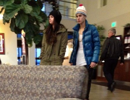 EXCLUSIVE: Justin Bieber and Selena Gomez's relationship looks back on as they snuggle up at Utah Airport
