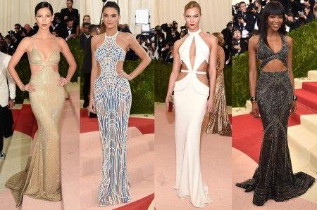 左から:リリー・オルドリッジ<Michael Kors Collection>、ケンドル・ジェナー<Atelier Versace>、カーリー・クロス<Brandon Maxwell>、ナオミ・キャンベル<Cavalli Couture>