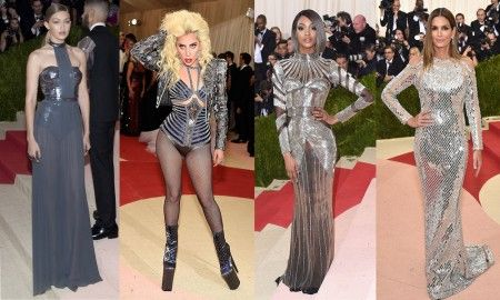 左から:ジジ・ハディッド<Tommy Hilfiger>、レディー・ガガ<Atelier Versace>、ジョーダン・ダン<Balmain>、シンディ・クロフォード<Balmain>