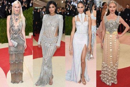 左から:ポピー・デルヴィーニュ<Marchesa>、カイリー・ジェナー<Balmain>、ジョアン・スモールズ<Balmain>、ケイト・ボスワース<Dolce and Gabbana>