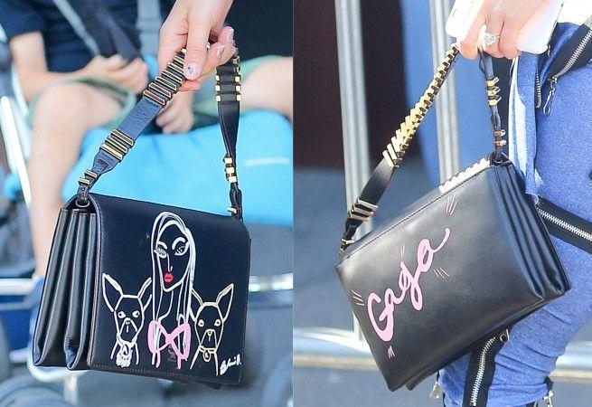 持ち手にメタルが配されたミニバッグの両面には、ガガと愛犬たちのイラスト&ガガの名前のハンドペイントが。